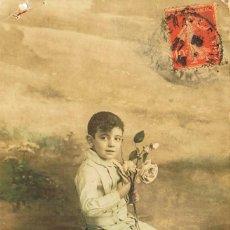 Postales: NIÑ0, POSTAL ESCRITA EN 1914, COLOREADA A MANO. Lote 228301175