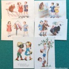 Postales: 6 POSTALES ILUSTRADAS DE NIÑOS. Lote 232950200