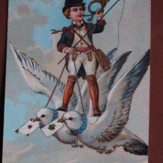 Postales: POSTAL NIÑO POSTILLÓN CON PALOMAS MENSAJERAS PF 9188. DORADOS EN RELIEVE. 1908. ESCRITA.. Lote 238553105
