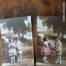 Postales: NIÑOS CON FLORES 2 POSTALES PRINCIPIOS SIGLO XX. Lote 238599495
