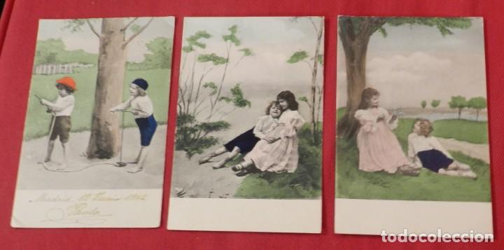 3 POSTALES COLOREADAS DE NIÑOS JUGANDO, UNA CIRCULADA EN 1904, LAS OTRAS SIN CIRCULAR Y SINN DIVIDIR (Postales - Postales Temáticas - Niños)