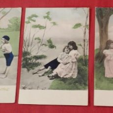 Postales: 3 POSTALES COLOREADAS DE NIÑOS JUGANDO, UNA CIRCULADA EN 1904, LAS OTRAS SIN CIRCULAR Y SINN DIVIDIR. Lote 240599490