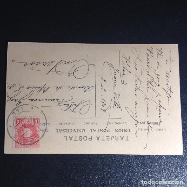 Postales: ANTIGUA POSTAL FOTO COLOREADA NIÑA JUGANDO CON YOYO - CIRCULADA Y FRANQUEADA 1908 - - Foto 2 - 244205105