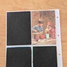 Postales: ANTIGUA POSTAL «NIÑO Y NIÑA HACIENDO CASITA». Lote 246352985