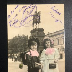 Postales: TARJETA POSTAL NIÑOS MONUMENTO NAPOLEON.MATARO 1908. Lote 246595975
