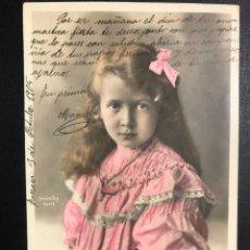 Postales: TARJETA POSTAL NIÑA CON LAZO.ORICELLY PARIS.TARRASA 1905. Lote 246597480