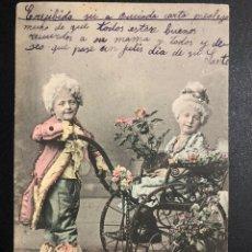 Postales: TARJETA POSTAL NIÑOS VESTIDOS DE ÉPOCA CARRITO BEBE.BRILLANTINA. Lote 246603790