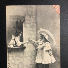 Postales: TARJETA POSTAL NIÑAS CON SOMBRILLA.TARRASA 1905. Lote 246604170