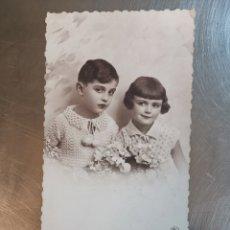 Postales: POSTAL PAREJA DE NIÑOS, DE 1924 ESCRITA EN SALLENT, DIRIGIDA A TERRASSA. P.C PARÍS Nº3821. Lote 251834125