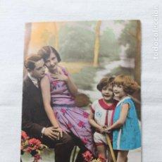 Postales: ANTIGUA POSTAL FAMILIA CON CARRITO DE FLORES- COLOREADA- A. NOYER 1007 --AÑOS 30. Lote 254308350