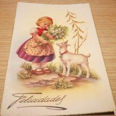 Postales: ANTIGUA TARJETA POSTAL DE FELICITACIÓN 1956 - CIRCULADA. Lote 262310980