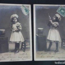 Cartes Postales: LOTE DE 2 ANTIGUAS POSTALES FANTASÍA, NIÑOS , SIN DIVIDIR, VER FOTOS. Lote 267174989