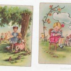 Postales: LOTE DE 2 TARJETAS POSTALES INFANTILES M.R.G. UNA CON BRILLANTINA. AÑOS 1959-1960. Lote 268809704