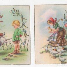 Postales: LOTE DE 2 TARJETAS POSTALES INFANTILES M.R.G. CON BRILLANTINA. AÑO 1959. Lote 268812019