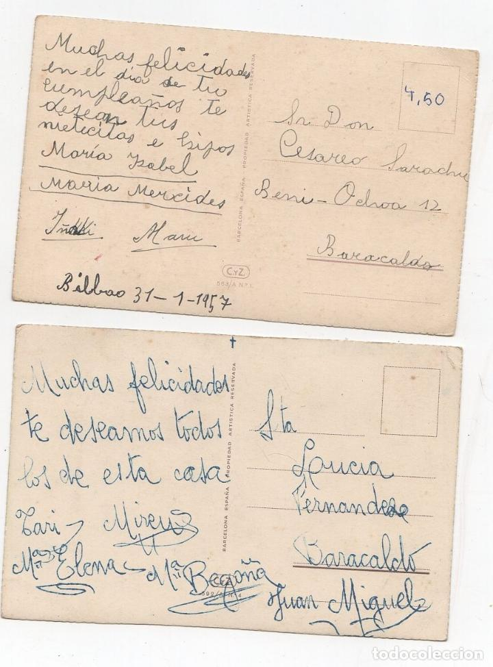 Postales: LOTE DE 2 TARJETAS POSTALES INFANTILES M.R.G. AÑO 1957 - Foto 2 - 268817624