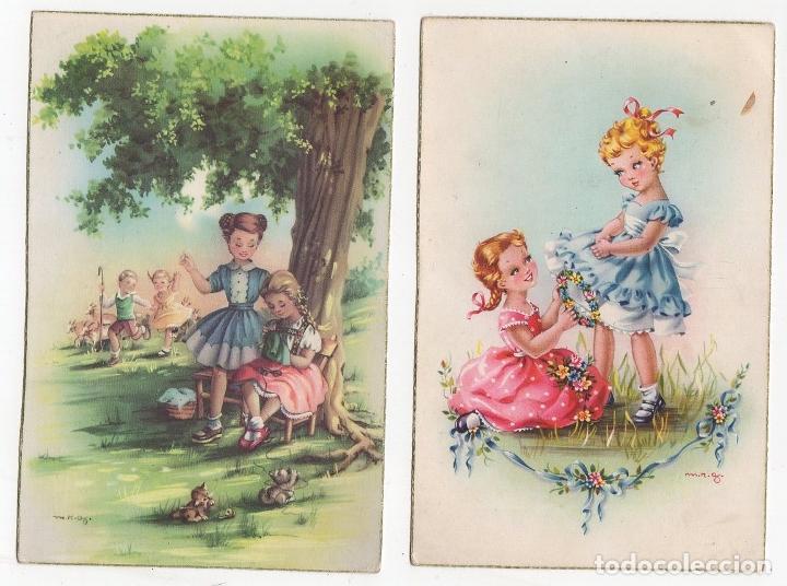 LOTE DE 2 TARJETAS POSTALES INFANTILES M.R.G. AÑO 1957 (Postales - Postales Temáticas - Niños)
