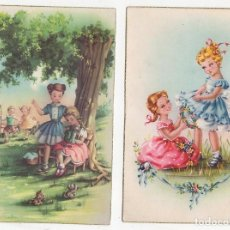 Postales: LOTE DE 2 TARJETAS POSTALES INFANTILES M.R.G. AÑO 1957. Lote 268817624