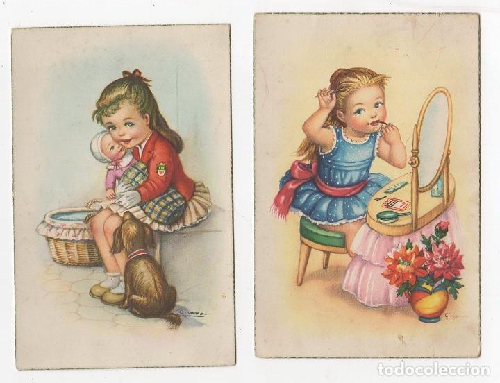 LOTE DE 2 TARJETAS POSTALES INFANTILES ILUSTRADAS POR GIRONA. AÑOS 1961-1962 (Postales - Postales Temáticas - Niños)