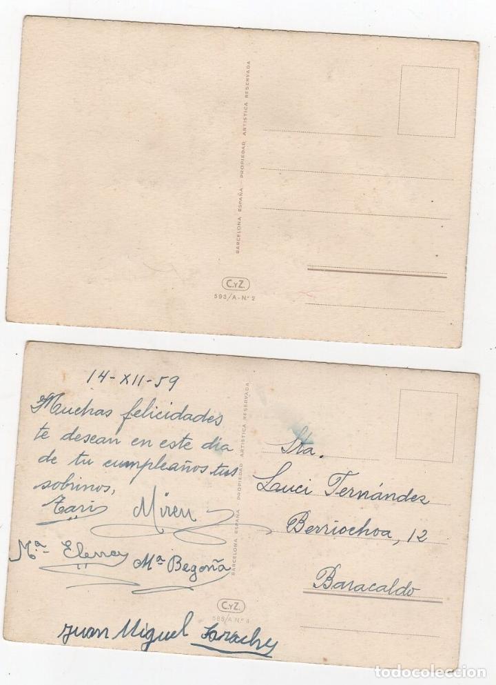 Postales: LOTE DE 2 TARJETAS POSTALES INFANTILES CON BRILLANTINA. ILUSTRADAS POR NURIA BARÓ. 1959 - Foto 2 - 268821504