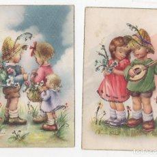 Postales: LOTE DE 2 TARJETAS POSTALES INFANTILES CON BRILLANTINA. ILUSTRADAS POR NURIA BARÓ. 1959. Lote 268821504