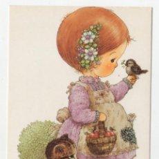 Cartes Postales: POSTAL DIBUJOS GIORDANO NIÑOS AÑOS 80 NIÑA CON GATO Y PAJARO. Lote 275238593