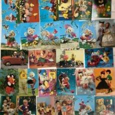 Postales: LOTE 28 POSTALES, OSITOS, PELUCHES, MUÑECAS Y JUGUETES VINTAGE. AÑOS 60. 10X15. Lote 275338723
