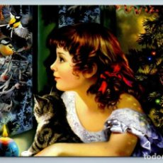 Postales: LITTLE GIRL WITH CAT KITTENS LOOK AT BIRDS CHRISTMAS TREE RUSSIAN NEW POSTCARD - NADEZHDA STRELKINA. Lote 278749268