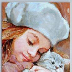 Postales: LITTLE GIRL HUG GRAY CAT KITTEN CUTE FRIENDS BY SIMONOVA NEW UNPOSTED POSTCARD - SIMONOVA OLGA. Lote 278749388