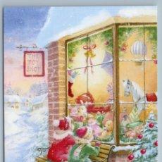 Postales: LITTLE BOY GIRL AT TOY SHOP TEDDY BEAR DOLLS CHRISTMAS EVE RUSSIAN NEW POSTCARD - HAZEL LINCOLN. Lote 278749408