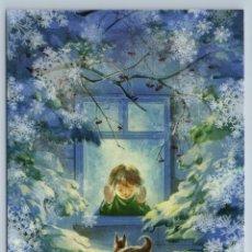 Postales: LITTLE BOY LOOK AT SQUIRREL SNOW WINTER XMAS TREE WINDOW NEW UNPOSTED POSTCARD - PETRUK ALEKSANDRA. Lote 278749518