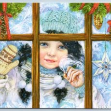 Postales: PRETTY LITTLE GIRL WINDOWS SNOW PATTERNS FROSTY CHRISTMAS RUSSIAN NEW POSTCARD - EVGENIA CHISTOTINA. Lote 278749668