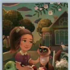 Postales: LITTLE GIRL W/ CAT IN GARDEN ICE CREAM TEA PARTY BIRD HOUSE RUSSIAN NEW POSTCARD - EVGENIYA SMOLENCE. Lote 278749773