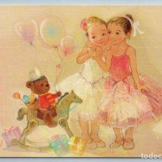 Postales: LITTLE GIRLS BALLERINAS N TEDDY BEAR TOY WOODEN HORSE RUSSIAN UNPOSTED POSTCARD - EKATERINA BABOK. Lote 278749778