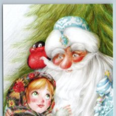 Postales: LITTLE GIRL N DED MOROZ SANTA BULLFINCH CHRISTMAS TREE TALE NEW RUSSIAN POSTCARD - MARTA MAY. Lote 278749788