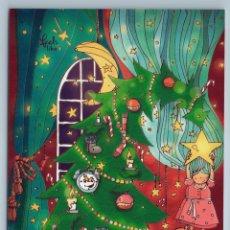 Postales: LITTLE GIRL ON CHRISTMAS TREE TEDDY BEAR TOY EVE DECORATION RUSSIAN NEW POSTCARD - NASTYA KAMENTSOVA. Lote 278749803