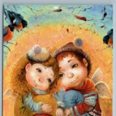 Postales: LITTLE GIRL N BOY WITH BULLFINCHES BIRDS ANGEL ON TREE FANTASY NEW POSTCARD - KATERINA OLKHOVSKAYA. Lote 278750048