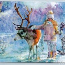 Postales: CUTE LITTLE GIRL WITH REINDEER DEER SNOW WINTER FOREST RUSSIAN NEW POSTCARD - TATIANA USTIANTSEVA. Lote 278750063