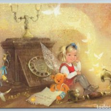 Postales: LITTLE GIRL CALL OLD PHONE TEDDY BEAR TOY FAIRY OF GOOD NEW RUSSIAN NEW POSTCARD - EKATERINA BABOK. Lote 278750298