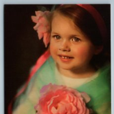 Postales: PRETTY LITTLE GIRL WITH CLEAR EYES AND BIG PINK FLOWER RUSSIAN NEW POSTCARD - TANYA TRISHINA. Lote 278750403