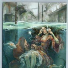 Postales: PRETTY GIRL W/ LONG HAIR LISTEN MUSIC UNDER WATER CITY UNUSUAL ART NEW POSTCARD - SPARROW-CHAN. Lote 278750423