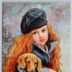 Postales: LITTLE GIRL WITH DACHSHUND DOG RED LONG HAIR FRENCH CHIC RUSSIAN NEW POSTCARD - SIMONOVA OLGA. Lote 278750608