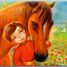 Postales: LITTLE BOY N HORSE BUTTEFLY FLOWER FIELD FRIENDS RUSSIAN ETHNIC NEW POSTCARD - KATERINA SIGAEVA. Lote 278750673