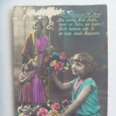 Postales: PRECIOSA POSTAL CON NIÑA Y SANTO, COLOREADA. PRINCIPIOS DE SIGLO. ESCRITA EN 1927. Lote 279344458