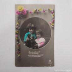 Postales: POSTAL ROMANTICA NIÑAS. 156. ESCRITA DETRAS 1924 MADRID. COLOREADA. MUÑECOS DE TRAPO, POESIA. Lote 282002413