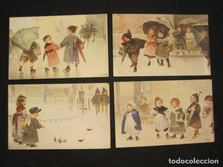 Postales: NIÑOS BAJO LA LLUVIA-COLECCION DE 5 POSTALES ANTIGUAS-VER FOTOS-(82.856) - Foto 2 - 282976388