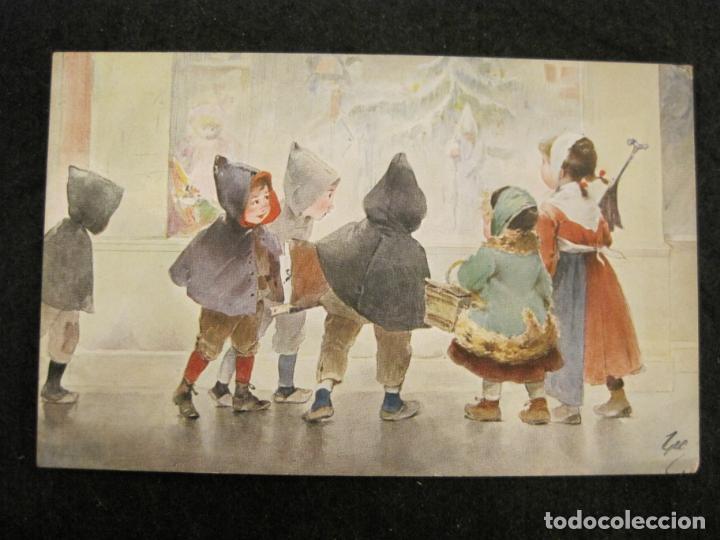 Postales: NIÑOS BAJO LA LLUVIA-COLECCION DE 5 POSTALES ANTIGUAS-VER FOTOS-(82.856) - Foto 3 - 282976388