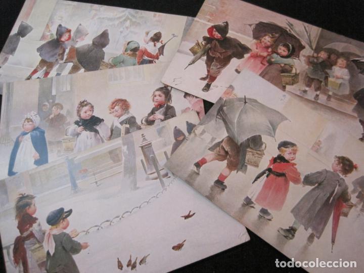 NIÑOS BAJO LA LLUVIA-COLECCION DE 5 POSTALES ANTIGUAS-VER FOTOS-(82.856) (Postales - Postales Temáticas - Niños)