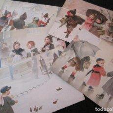 Postales: NIÑOS BAJO LA LLUVIA-COLECCION DE 5 POSTALES ANTIGUAS-VER FOTOS-(82.856). Lote 282976388