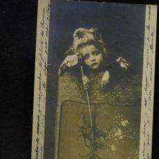 Postales: POSTAL ROMÁNTICA *NIÑA CON PLUMA DE AVESTRUZ*, CIRCULADA 1904. Lote 288161703