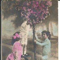 Postales: POSTAL NIÑOS COGIENDO FLORES DEL ARBOL - ESCRITA 1913. Lote 293922483